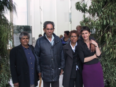 Artists Andrea Williams and Jo Darbyshire (on right)<br>with Andreas mother Josephine Williams and uncle Mervyn Williams<br>at opening of the Proclamation Day Arch