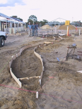 forming the foundation for stone wall
