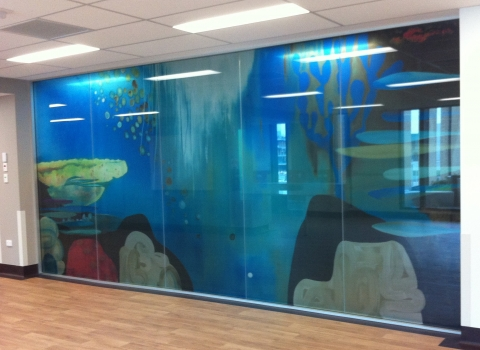 Digiglass 'Underwater black rocks and red coral' installed
