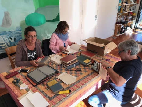 Darbyshire and friends preparing the 300 book covers 20.5.2018